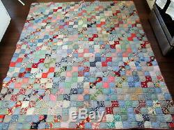 VTG Amish Farm Country Hand Sewn Bow Tie Quilt Handmade Lancaster Pa 69 X 78