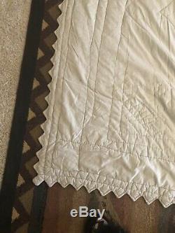 VTG Antique Quilt 64x84 Depression Handmade Stitched Back to Front Usa Seller