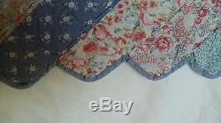 VTG Handmade & Hand Quilted Blue Floral Patchwork Quilt Zig Zag Edges 84x84