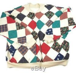 VTG Handmade Patchwork Quilt Full Zip Jacket Coat Of Many Colors USA Sz 1X-2X