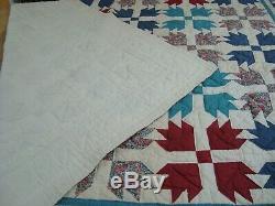VTG Handmade QUILT Patchwork Bedspread Hand Quilted Maple Leaf 83 x 83