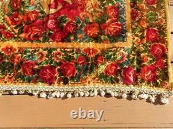 VTG Italian Wedding Quilt Blanket Velvet Yellow Fuscia Roses Cherubs 82 x 92
