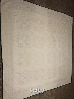 VTG Quilt Handmade Bear Paw Colorful Patchwork Cotton 78x80 Full/Queen