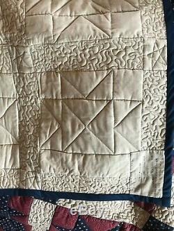 VTG Quilt Patriotic Americana Lined Handmade Red White Blue Stars 83.5x 71 EUC