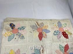 Vintage 1930's Handmade Flowers Patchwork Quilt 84 x 69 Sunflower Dahlia Dresden