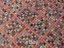 Vintage 1930s Handsewn Handmade Penny Yo Yo YoYo Quilt Bedspread 95 x 87