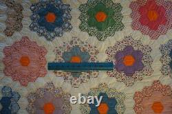 Vintage 1930s Quilt Grandmas Flower Garden Floral 72x84 Bed Cover Blanket