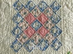 Vintage 1940's Handmade Hand Stitched Multi Color Quilt 86x78 Exquisite