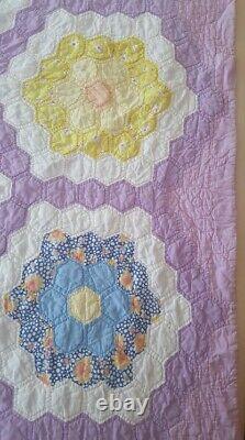 Vintage 1940s Handmade Feedsack Purple Grandmother's Flower Garden Quilt 86 x 76