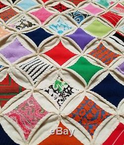 Vintage 1950's Handmade CATHEDRAL WINDOW QUILT BLANKET 83 x 69 inches AWESOME