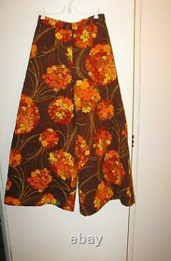 Vintage 1970s Hand Made Quilted Fall Floral Vest Pant Set