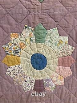 Vintage 30's 40's Dresden Plate Variation Quilt Hand stitched pastel. Must See