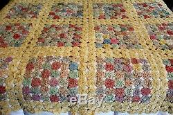 Vintage 30's 40s Antique Yo Yo QUILT Feed Sack Handmade Large 92x92 Bed Coverlet