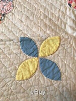 Vintage 30's Fabric Handmade Dresden Plate & Applique QUILT 70x88 Blue Backing