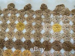 Vintage 30's Hand Made YoYo Quilt Top Feedsack Cotton Fabric Yo Yo Antique 84x99