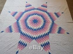Vintage 30's Handmade LONE STAR QUILT Southern Ohio PINK PURPLE BLUE 79 x 71