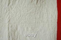 Vintage 30's Red, Green & Cheddar Tulips 4-Block Antique Quilt GREAT QUILTING