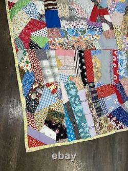 Vintage 60's 70's Large Hand Made Quilt Stitched Colorful Boho Hippie 81x 83