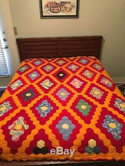 Vintage 60's Handstitching handcrafted Quilted Patchwork Quilt Blanket 67x82
