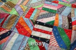 Vintage 70s Crazy Quilt Handmade Colorful Polyester Heavy Farmhouse 80 x 82