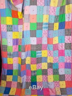Vintage 70s Handmade Hand Quilted Jersey Knit Patchwork Twin Full Quilt 65x86