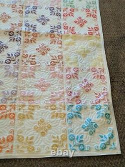 Vintage 74x52 Handmade Hand Cross Stitched Flower Bouquets Multicolor Quilt