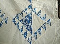 Vintage 88 x 88 Blue White Floral on White Amish Country PA Handmade Quilt