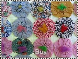 Vintage ALL Handmade Yo Yo Patchwork Feedsack Quilt 72 x 89 ESTATE FIND