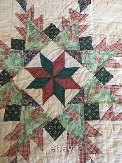 Vintage American Handmade Feedsack Patchwork Quilt 84X84 VGC