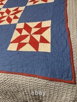 Vintage Americana Handmade Red White Blue Quilt Star Pattern 80x 70