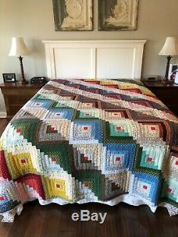 Vintage Amish Log Cabin Hand Made Quilt 105 X 95 5 Star Free Shipping