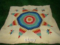 Vintage Amish Lone Center Star Handmade Quilt, Hand Stitched & Quilted 75 x75