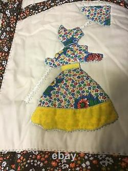 Vintage Amish Style Quilt Handmade Sewn Lady Parasol Umbrella WithBonnet 89x102