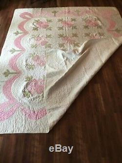 Vintage Antique 1900 Folk Art Floral Drape Garland Appliqué Quilt HandMade 74x91