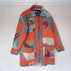 Vintage Antique 1940s Tulip Patchwork Quilt Handmade Jacket Chore Coat Duster M