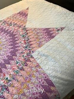 Vintage Antique Hand Stitched Lone Star Quilt