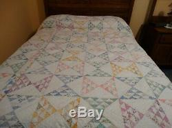 Vintage Antique Triangle Half Square Handmade Hand Quilted Quilt Feedsack
