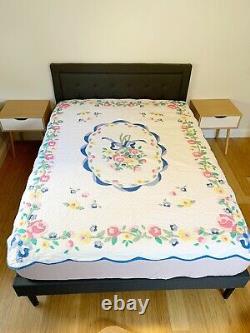 Vintage Arch Quilt Floral Flowers Scalloped Handmade Cottagecore Pastel Blanket