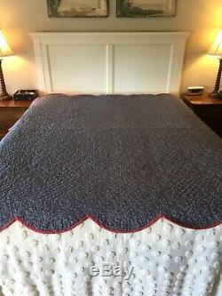Vintage Barn Red & Blue Hand Made Hand Quilted Quilt 78 X 66 5 Star Free Ship