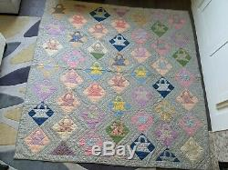 Vintage Basket Pattern Quilt Handmade Queen Full Double Early to Mid 1900's