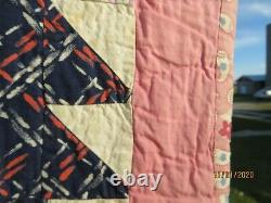 Vintage Bear Claw Feedsack Quilt-PINK-Hand Quilted and Hand Sewn-1930's