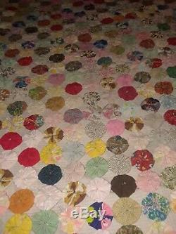 Vintage Beautiful Colorful Yoyo Yo Yo Handstitched Handmade Quilt