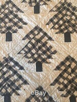 Vintage Black & White Hand Quilted Handmade Pine Tree Quilt 5 Star Free Shipping