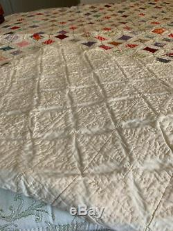 Vintage Cathedral Window Quilt Hand Made Twin or Small Full 78 x 94