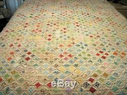 Vintage Cathedral Window Quilt Handmade 68 x 83 700+ Squares Hand Sewn