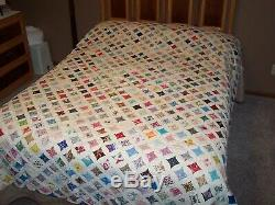 Vintage Cathedral Window Quilt Handmade 76 x 89 Squares Hand Sewn