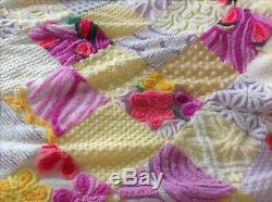 Vintage Chenille Bedspread Quilt Handmade & Very Beautiful! X Large Size