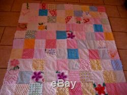 Vintage Chenille Patchwork Quilt Handmade Bedspread Throw Coverlet