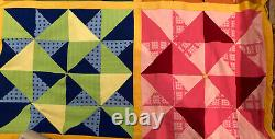Vintage Chopped Triangle Quilt-75 X 100