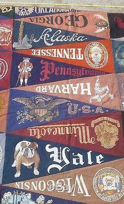 Vintage College University Felt Pennants Lot of 36 handmade quilt TRAVEL/STATES